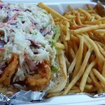 shrimp poboy with fries