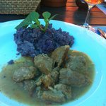 The veal with purple mashed potatoes!