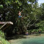 Jumping off the 10 foot platform into the White River