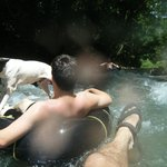 Going over the rapids with Spot the dog
