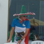 Lewis, Entertainment team member, taken on sun terrace Mexican theme day
