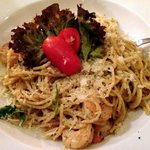 Spaghetti aglio olio peperoncino with shrimps