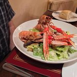 Sea bass with langoustines