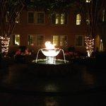 Courtyard at night.