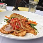 Petto di Pollo alla Contadina (Young breast of chicken sautéed with peppers, onions, Rosemary an