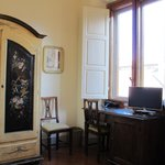 Botticelli room's desk and one of two windows overlooking the market.