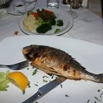 13.50 euro grilled Sea Bream...good, but no potatoes