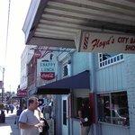 Veiw from sidewalk in front of Floyd's Barbershop