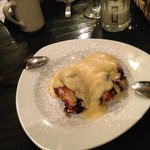 Blueberry bread pudding with almond sauce