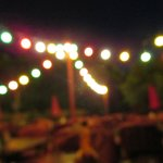 Festive outdoor lighting makes a great ambiance in the desert evening