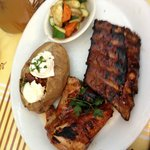 Ribs, Chicken and Baked Potato