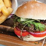 Aberdeen angus burger, homemade mayo, homemade bun