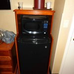 Fridge and microwave (in black)