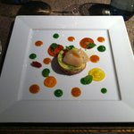 "First ""real"" dish and my favorite: Tartar, avocado and scallops"