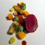 1st of 2 main dishes, deer marinated pumpkin and a delicious sauce