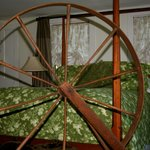 Avery Browning room with antique walk wheel