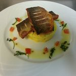 Pan-fried Seabass with saffron mash and sauce vierge