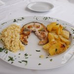 Lovely swordfish - potatoes were great!