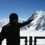 Me pointing at the highest peak Mont Blanc