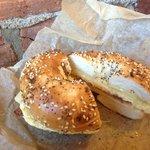 Sunrise bagel breakfast sandwich