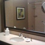 Nice big mirror in the bathroom