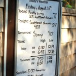 Informative board for weather, tides, and other at front of campground