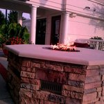 Fire pit outside of pool area / fitness center