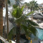 View of the pool, La Palapa, and the marina from our balcony