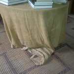 Scruffy, ragged and odorous sack cloth table coverings - extremely unpleasant