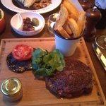 Ribeye steak and chunky chips.