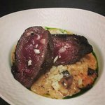 Venison striploing + mushroom risotto