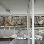 Seeing the rocky shores from the lower deck