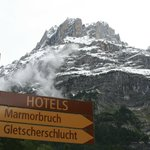 Way Signs and Wetterhorn view on road to this Hotel