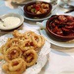 Appetizer of Calamari, Chorizo, and Fresh fish