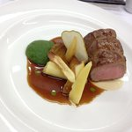 Sous vide veal, pear-parsley puree, glazed parsnips, confit pears, consomme jelly, parsley oil