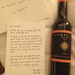 Letter from Manager and comp bottle of wine