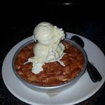 White chocolate raspberry pizookie. (Pizza cookie)