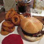 Bleu Cheese and Applewood Bacon Burger with Beer-Battered Onions