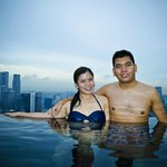 Swimming at MBS Infinity pool