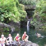 family and Bryan at waterfalls