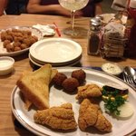 Catfish and hush puppies, Yum, Yum.