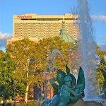 Logan Circle, Swann Fountain, and Sheraton hotel.