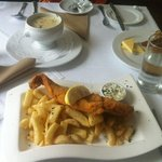 Seafood chowder with daily catch of fish and chips