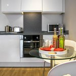 Open plan apartment kitchen/ dining area