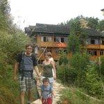 Pavol's family hiking at Dazhai village.