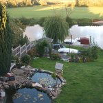 river and garden view from bedroom picture window