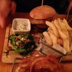 delicious wild boar and chorizo burger with a homemade tzakziki dip