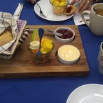 Fresh Fruits, Breads, jam, butter served with breakfasts