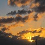 coucher de soleil devant la pension