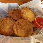 Great fried green tomatoes with pepper jelly